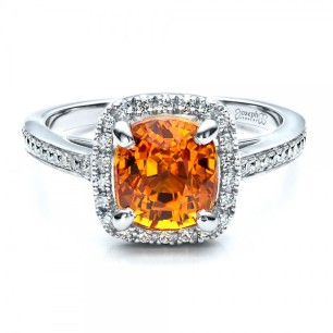 Custom Diamond and Orange Sapphire Engagement Ring josephjewelry.sophiworldblog.com