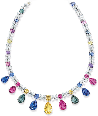 multi-color-sapphire-and-diamond-necklace.Jewellery to wear on New Year's Eve. Read more on www.sophiworldblog.com