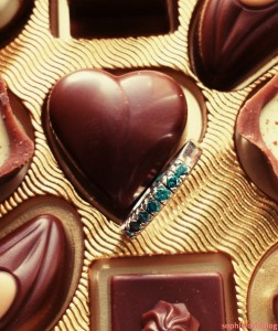 Hidden jewel in a chocolates'box. Valentine's Jewellery.