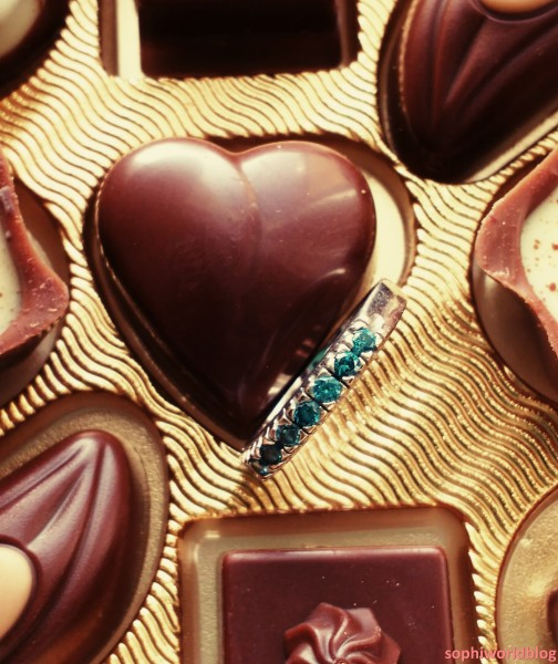 Hidden jewel in a chocolates'box. Valentine's Jewellery.